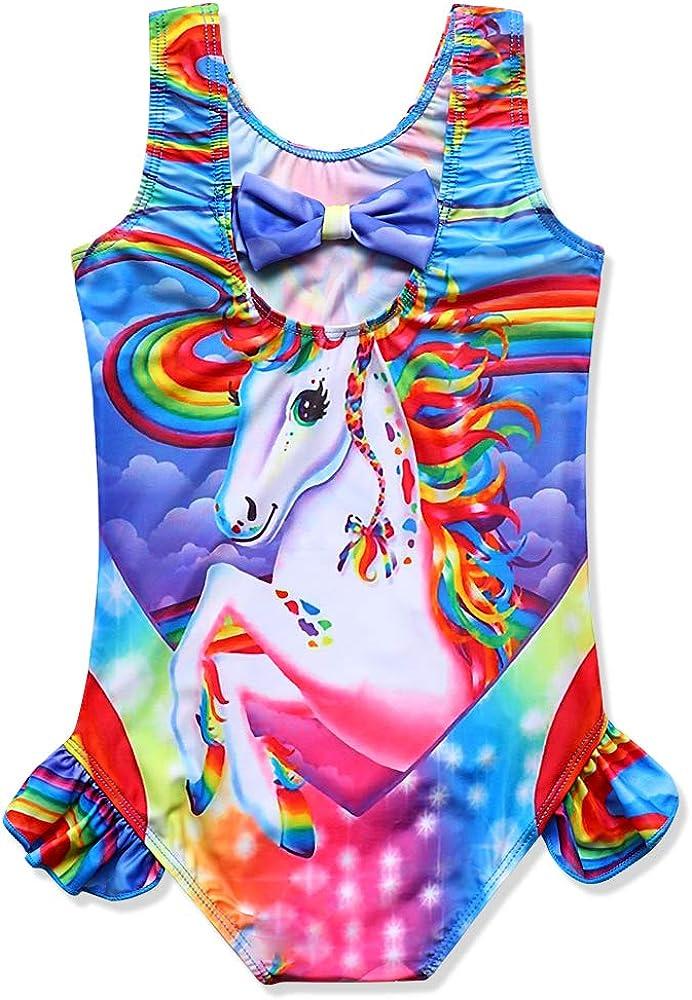 Girls Unicorn One Piece Swimsuits Bathing Suits Ruffle Swimwear Beach Tankini//Bikini//Swimming Wear Pink Blue Purple