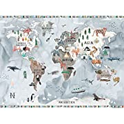 Watercolor Map - Pastel by Katie Vernon - Canvas Wall Murals, 42 x32