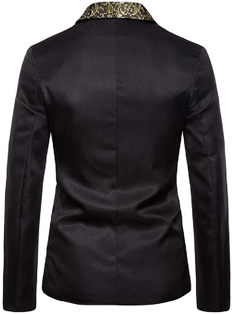 Fensajomon Men's One Button Club Print Notched Lapel Stylish Slim Blazer Jackets Black