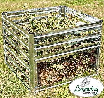 Fácil de carga galvanizado acero rejilla de Compost Bin Residuos de jardinería Tacho 605L