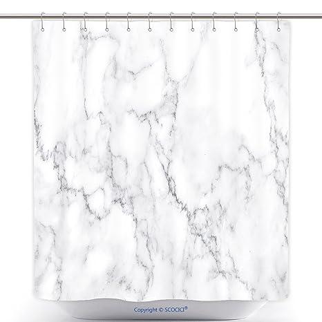 Tenda Doccia In Poliestere Naturale Marmo Texture Modello Bianco