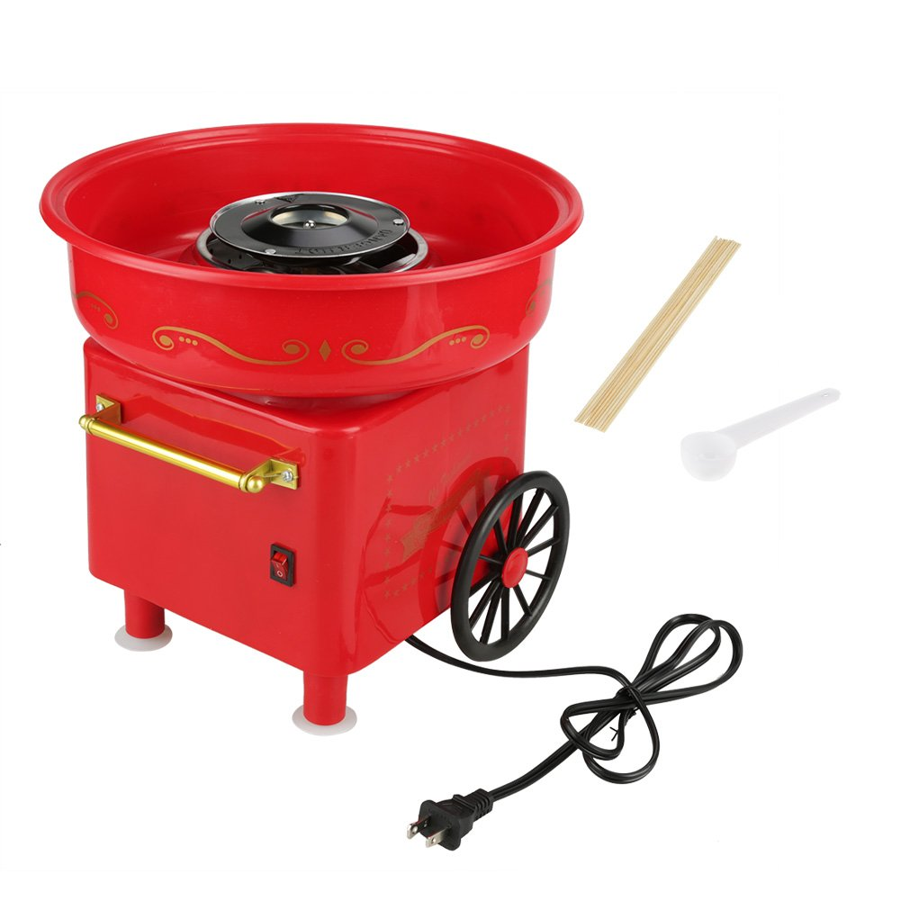 Cotton Sugar Maker, Red Electric Candyfloss Making Machine Cotton Sugar Candy Floss Maker(1#)