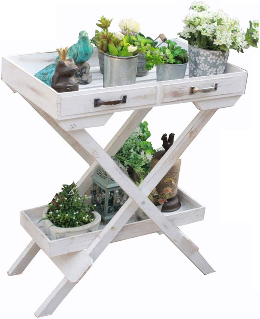 2-layer Wooden Wheeled Flower Stand, Removable Shelf, Retro White Simple Floor-standing Decorative Frame, Ideal Terrace, Porch.