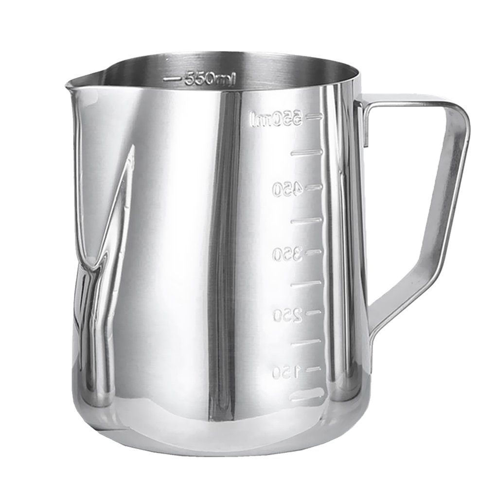 B Blesiya 600ML Stainless Steel Coffee Milk Frothing Jug Garland Cup with Scale Cup