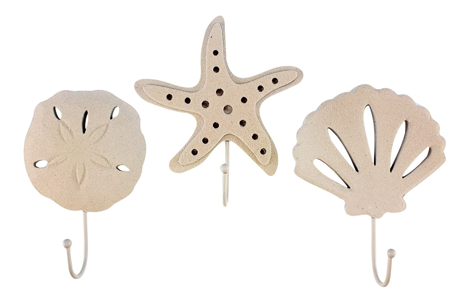 3 Wood Sand Finish Wall Hooks - 1 Scallop Shell, 1 Starfish and 1 Sand Dollar