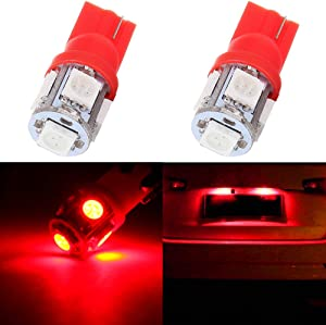 cciyu 194 Extremely Bright LED Bulbs T10 5-5050-SMD Light Lamp License Plate Light Lamp Wedge T10 168 2825 W5W Red Pack of 2