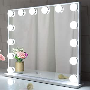 Large Hollywood Makeup Mirror, Hollywood Mirror Lighted Vanity Cosmetic Mirror with Lights, 14pcs Led Bulbs Tabletop or Wall Mounted Mirror with A Magnetic 10x Magnifying Mirror (White)