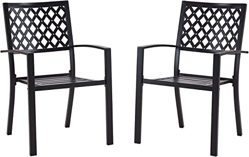 Vicllax Outdoor Metal Bistro Patio Stackable Dining Chairs Set of 2
