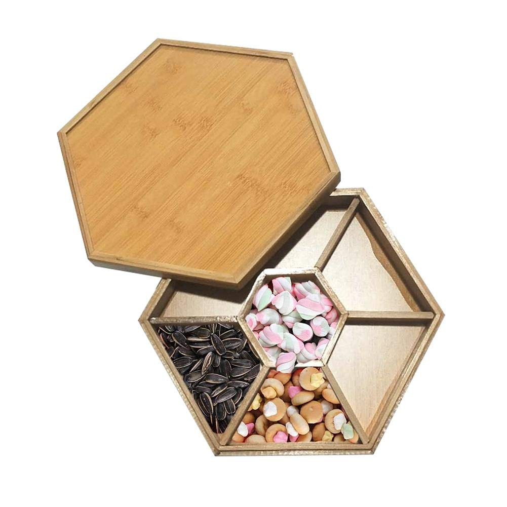 Candy And Nut Serving Container Candy Box Home Fruit Tray Regular Hexagon Dried Fruit Melon Snack Stand Appetizer Tray With Lid, 7 Compartment Snack Plate by decwang
