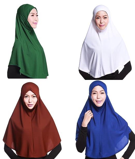 GladThink Mujeres Musulmanes De La Cubierta Completa Hijab Caps Bufanda Isl/ámica 4 Piezas