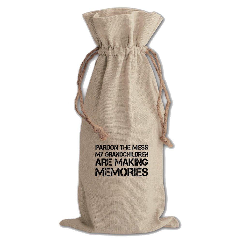 Mess My Grandkids Making Memories Cotton Canvas Wine Bag, Cotton Drawstring