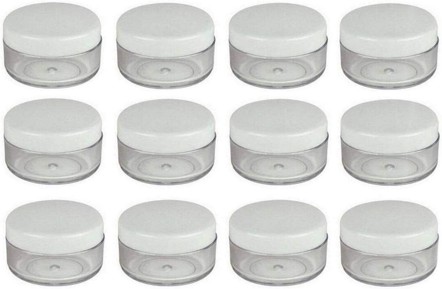 24PCS 15 Gram 15ml 0.5oz Refillable White Plastic Screw Cap Lid with Clear Base Empty Plastic Sample Container Jars for Cosmetic Make Up Cream Lotion Eye Shadow Nails Powder Gems Jewelry [並行輸入品]