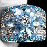 Women Elegant 925 Silver Aquamarine Gemstone Ring Wedding Bridal Jewelry Sz 6-10 (9)