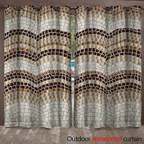 (BlountDecor Beige Home Patio Outdoor Curtain Gradient Colored Mosaic Waves Setting Antique Roman Royal Dated Retro PatternsW108 x L96 Beige Tan)
