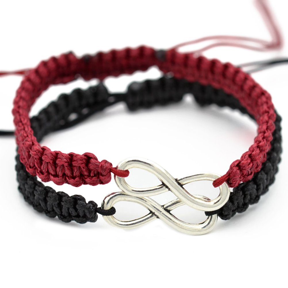 Wintefei 2Pcs/Set Handmade 8 Infinity Charm Braided Bracelet Friendship Couple Jewelry - Wine Red + Black