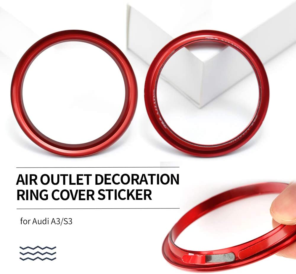 Dihoo Auto Klimaanlage Dekoration Ring Luftaustritt Dekoration Lüftungsdüsen Für A3 S3 2013 2018 4 Stück Rot Auto