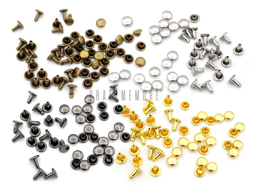 CRAFTMEmore 100 PCS 4MM 5MM 6MM Double Cap Rivets Round Rivet Fasteners for Leather Craft Decorations VT 5 mm Cap, Antique Brass