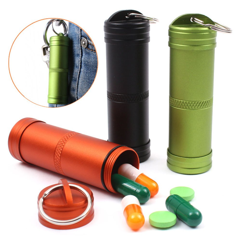 TeLe Xia 3pcs Waterproof Aluminum Pill Box Case Bottle Cache Drug Holder Keychain Container Color Random