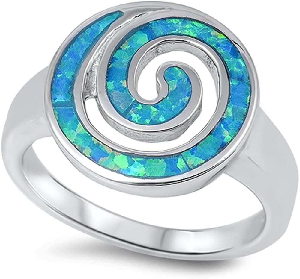 CloseoutWarehouse Round Swirl Blue Simulated Opal 925 Sterling Silver Size 8
