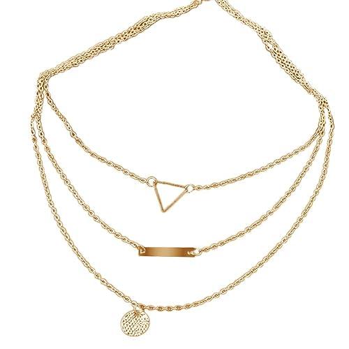 design di qualità fbbf2 870fb OULII Collana a più strati con pendente a catena tripla Collana con collane  a girocollo per donna (oro)