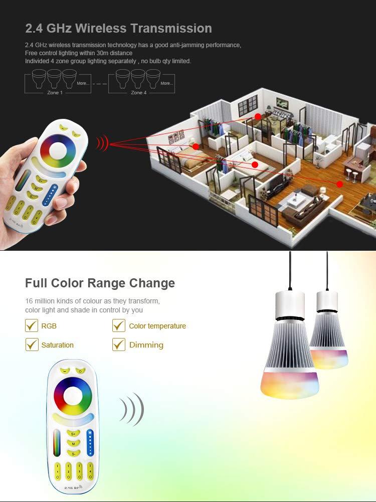 Milight 2 4G RF Wireless 4-Zone RGB+CCT Remote Controller For Mi-Light  RGB+CCT Wifi Led Light Bulb 8W E26,4W GU10 MR16,35W 50W Flood Light,Led  Strip