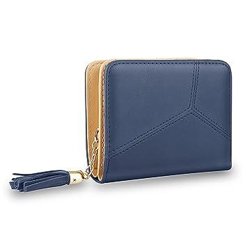 MPTECK @ Cartera de mujer con monedero con borla de PU Cuero Azul Ladies billetera Cartera