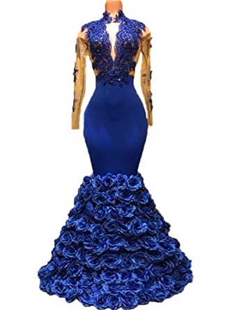 Graceprom Womens Royal Blue Mermaid Evening Dress Long Sleeves Prom Dress at Amazon Womens Clothing store: