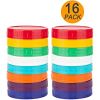 16 Pack Colored Plastic Mason Jar Lids