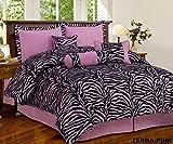 zebra comforter full size - 7 Piece Mauve Pink Black Zebra Micro Fur Comforter set Full Size Bedding - Teen, Girl, youth, Tween, Children's Room, Master Bedroom, Guest Room