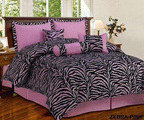 7 Piece Mauve Pink Black Zebra Micro Fur Comforter set Full Size Bedding - Teen, Girl, youth, Tween, Children's Room, Master Bedroom, Guest Room