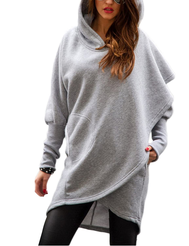 Dongpai Women's Asymmetric Hem Wrap Hoodie Long Sleeve Pullover Sweatshirt With Pocket