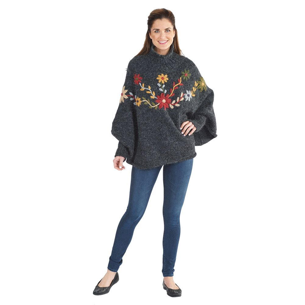 PERUVIAN TRADING COMPANY Women's Alpine Flowers Sweater Poncho - Hand Embroidered Floral Gray Charcoal
