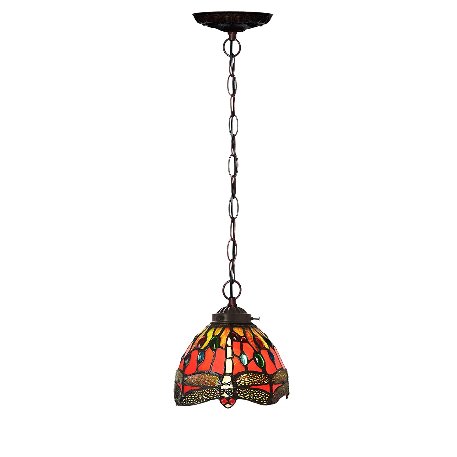 Bieye L10083 7 inch Dragonfly Tiffany Style Stained Glass Ceiling Pendant Fixture Hanging Lamp (Red)