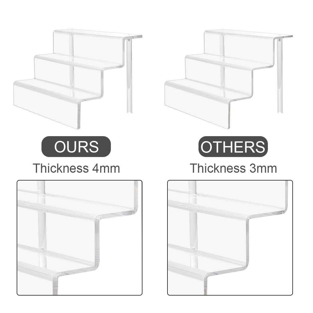 encimeras 3-Tier gabinete Clear HIIMIEI 2 Paquete de acr/ílico Riser Estante de exhibici/ón para Las Figuras Pop Amiibo Funko Magdalenas Soporte de Mesa 9 /× 6 Pulgadas