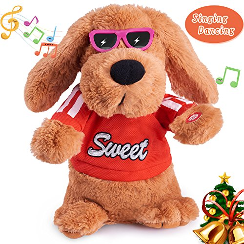(Musical Dancing Singing Electronic Dog Interactive Puppy Pet Toy Animated Pet , Flying Ears, Rock Body, Singing 6 Songs Plush Dog Toys for Girls Boys Kids Toddlers Baby Toy Gifts)
