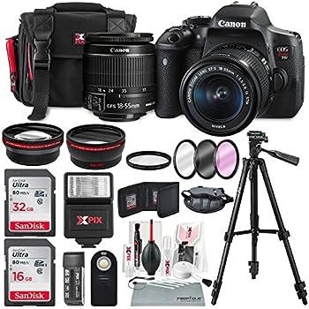 Canon EOS Rebel T6i + EF-S 18-55mm IS STM Lens Kit + Deluxe Bundle (14 Items)