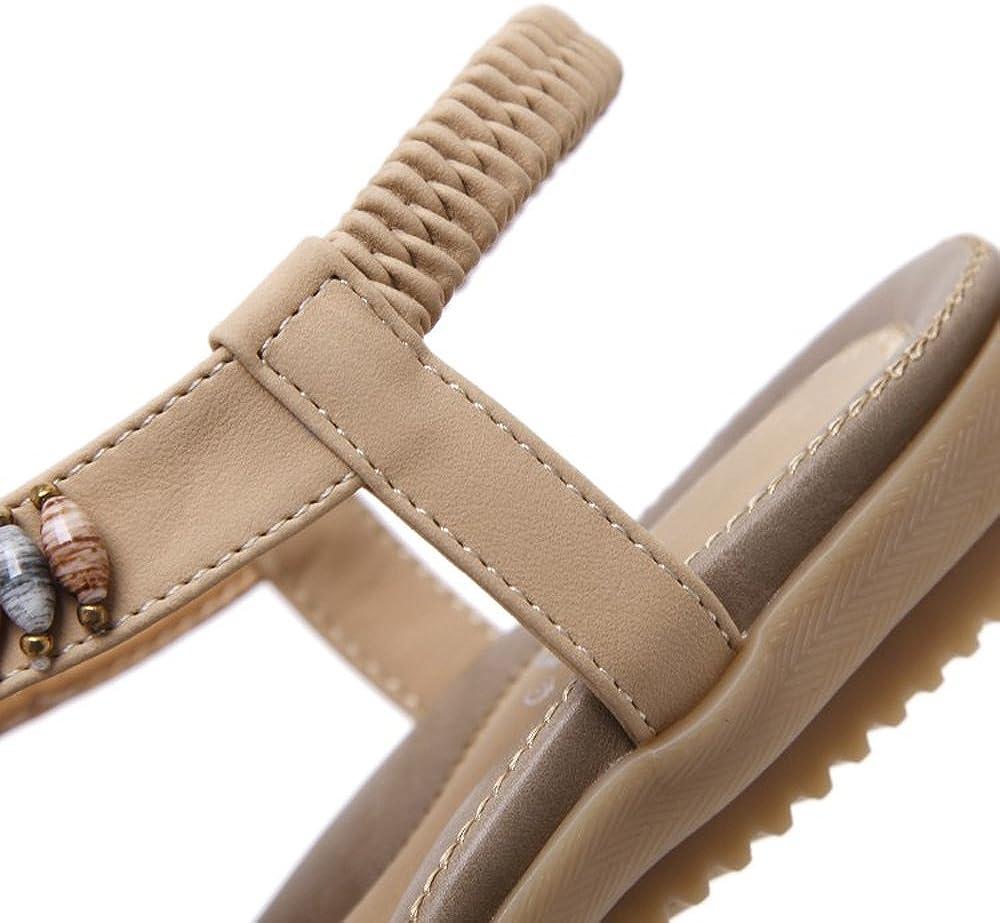 YiZJNY Womens Bohemian Summer Open Toe Sandals Rhinestone Bead Elastic Back Ankle Strap Flats Shoes