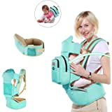Ergonomic Baby Carrier Hipseat 6 Carry Ways, All Seasons Infants & Toddlers Sling, Best Baby Shower Gift (Blue)