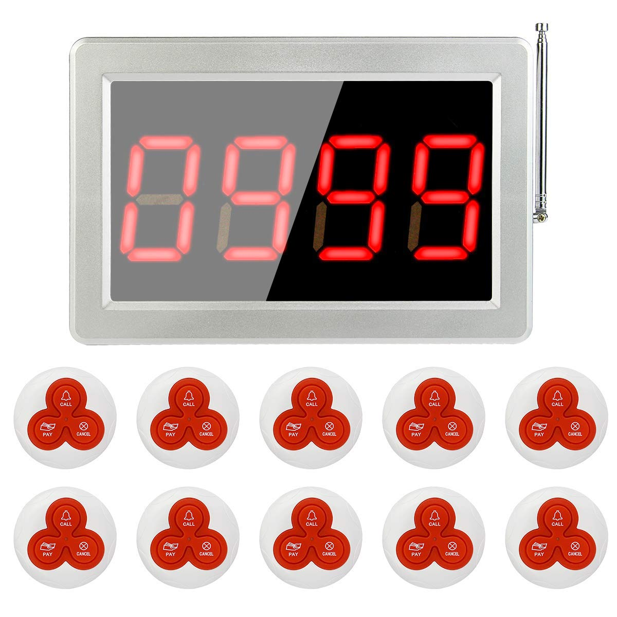 Retekess Wireless Calling System Restaurant Pager System Pager System with 10 Call Buttons and 1 Display Screen Receiver for Restaurant by Retekess
