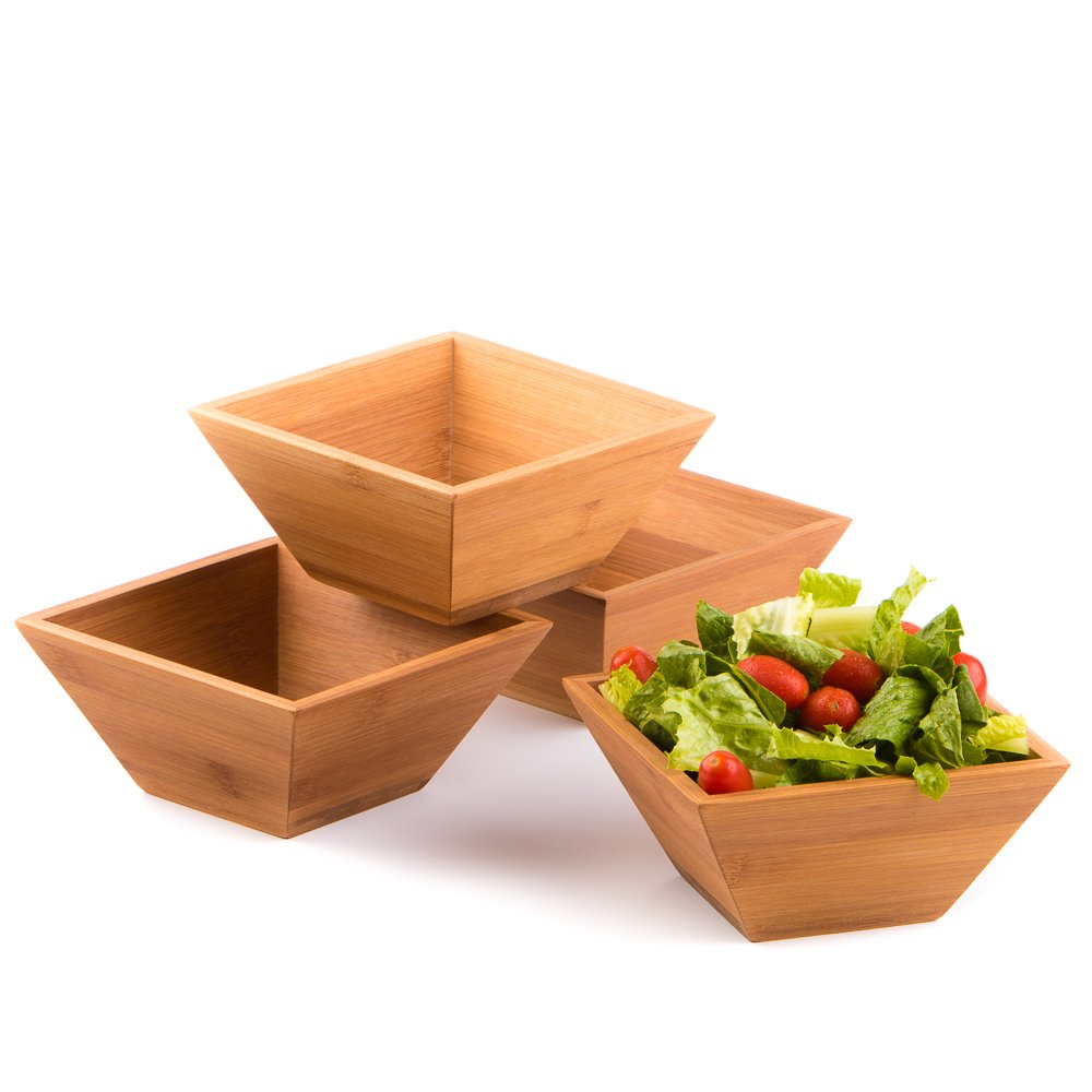 Wood Salad Bowl Set (Bamboo, Set Of 4) Best For Serving Salad, Pasta, Soup, and Fruit. Bowls Looks Absolutey Beautiful With Your Kitchen Setting. Pba Free/Eco-Friendly, By Midori Way