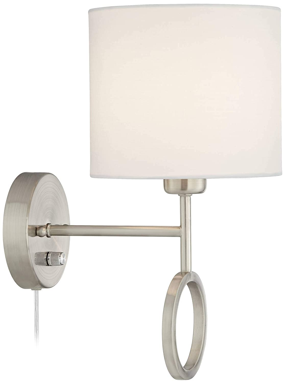 Amidon Wall Lamp Plug in Warm Brass Ring White Drum Shade for Bedroom Living Room Reading 360 Lighting