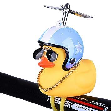 Accesorios para Bicicletas Led Lights Umiwe Cartoon Shining Duck Lighting Head Bike Horn Mini Bicycle Handlebar Horn.