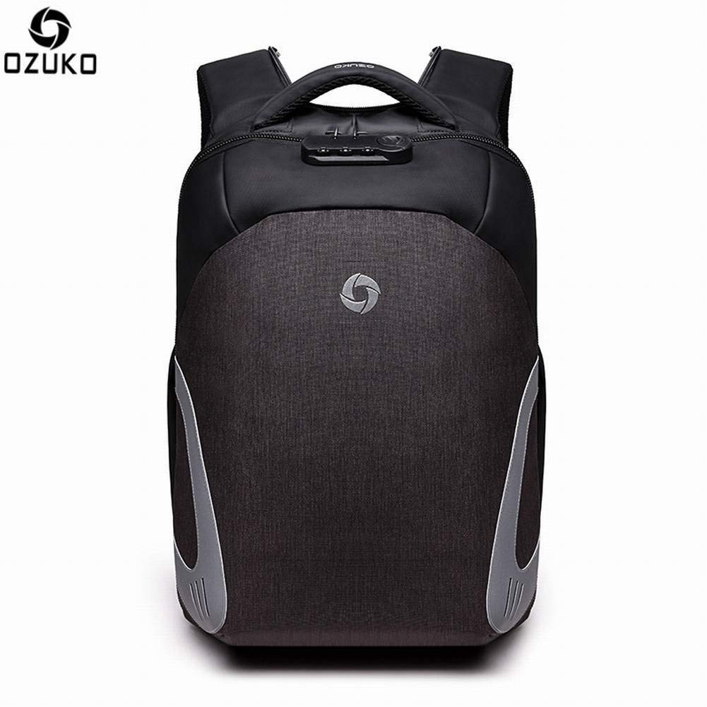 Creative Fashion Multi-Function Backpack Mens Casual Backpack USB Charging Backpack for Men Light Gray
