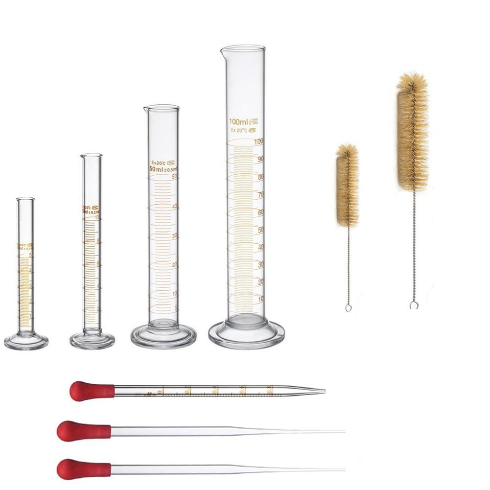 Thick Glass Graduated Measuring Cylinder Set 5ml 10ml 50ml 100ml Glass with Two Brushes (9)