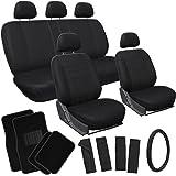OxGord 21pc Black Flat Cloth Seat Covers with Carpet Floor Mats for Car, Truck, Van, SUV