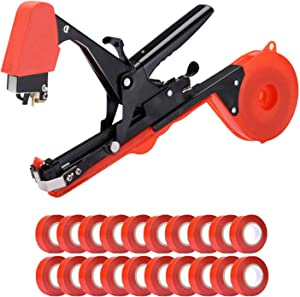 2021 Upgrade Plant Upright Tying Tapetool, Vine Tying Tape Griculture Tool with 20 Rolls Tape and 1 Box of Staples Set for Vegetable, Grape, Tomato, Cucumber, Pepper Flower (Black Orange)