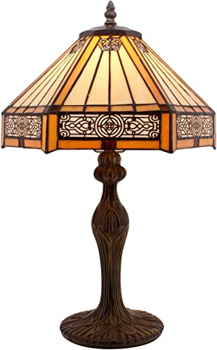 Tiffany Lamp Yellow Hexagon Stained Glass Shade Antique Zinc Base Mission Style Table Read Lighting W12H18 Inch S011 WERFACTORY LAMPS Living Room Bedroom Art Crafts Gifts Study Coffee Bar Bedside Desk