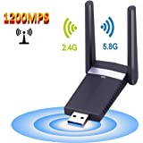 M.Way Dual Band 5GHz Wireless USB Wifi Adapter USB 3.0 AC1200 Network Adapter for PC Desktop Laptop Tablet, Support Linux / Windows XP / VISTA / 7 / 8/10, Mac OS X 10.6-10.12 1200Mbps 1200M