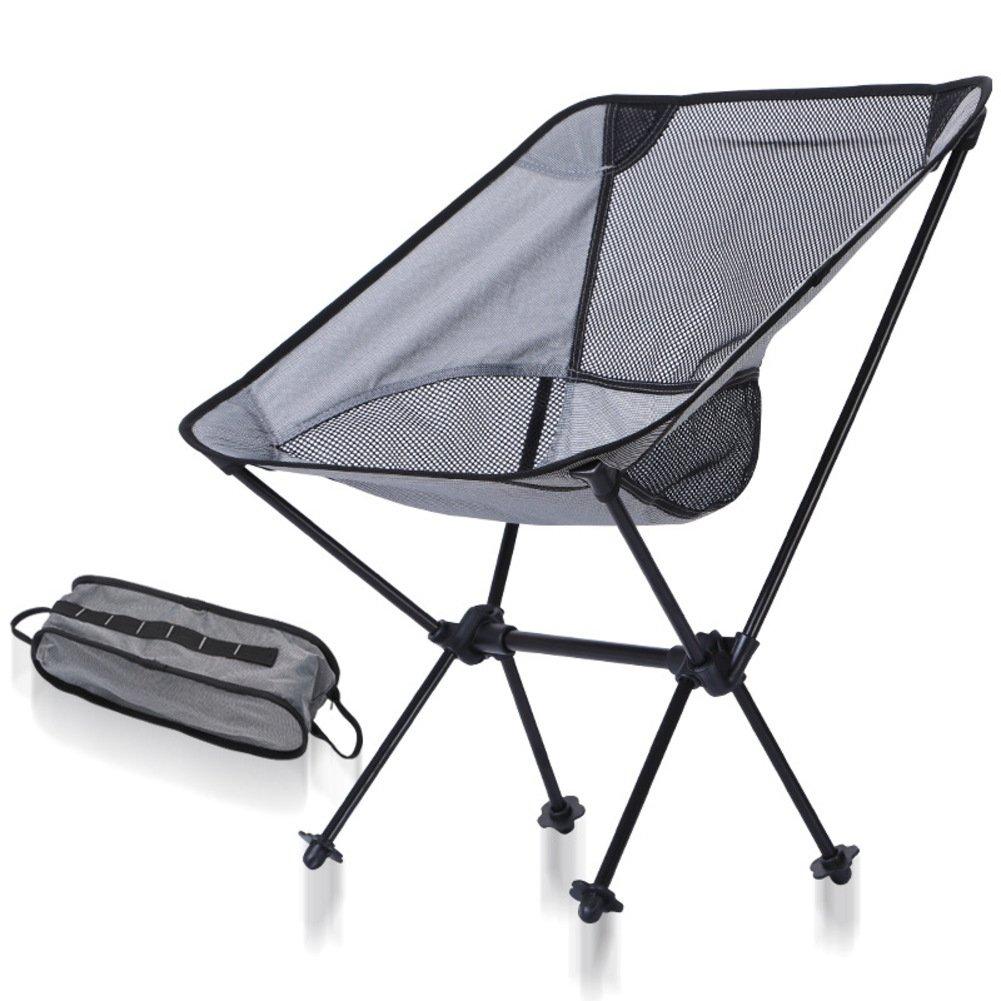 KFHSNJ Outdoor Multi-Funktions Klappstuhl,Portable Luftfahrt Aluminium Moon Stuhl Für Wandern Angeln Beach-Schwarz