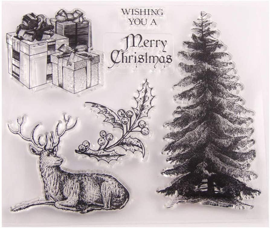 Merry Christmas Christmas Tree Decors Elk Deer Clear Stamps for Christmas Cards Making Decoration and Scrapbooking Rubber Stamps for Craft
